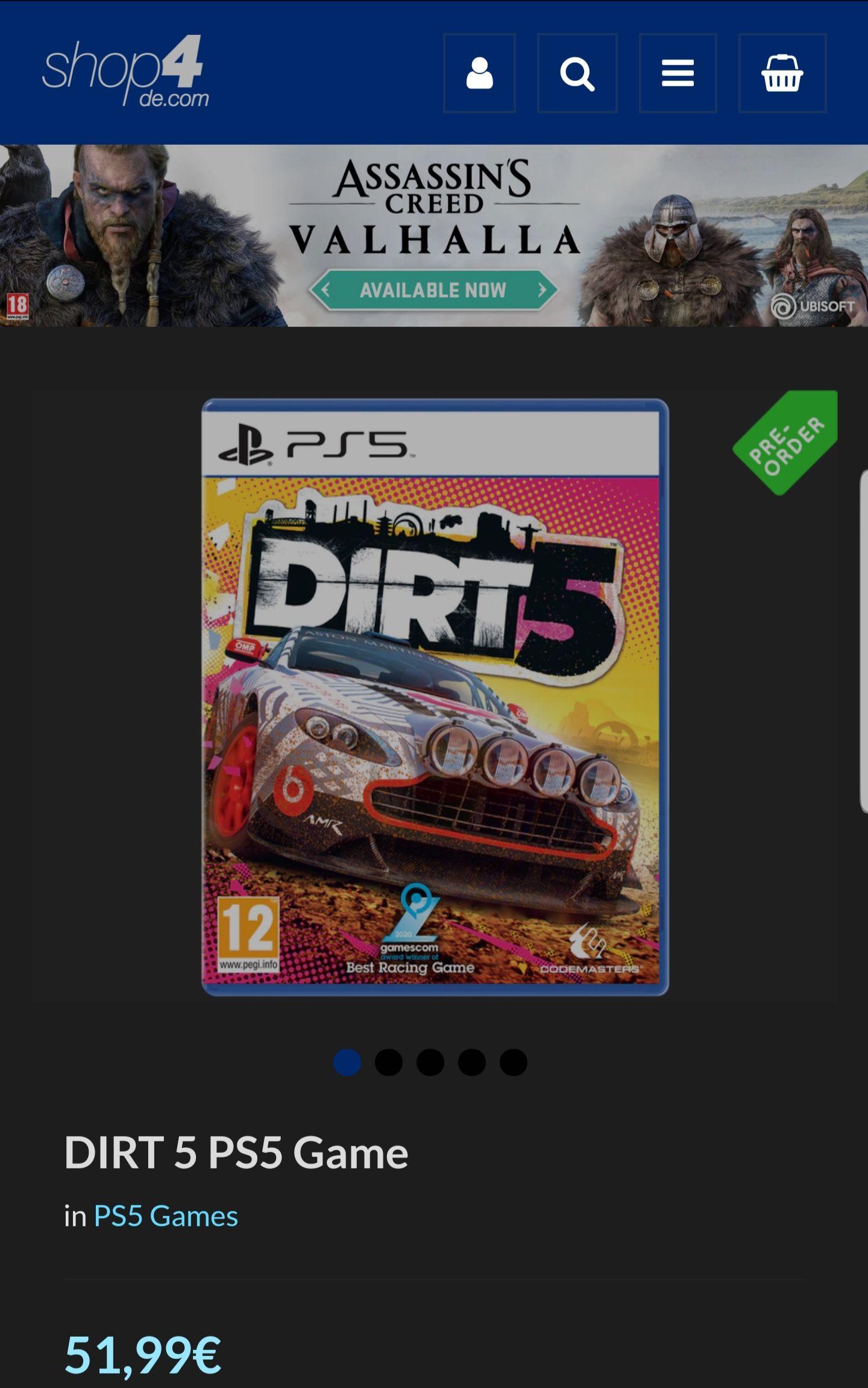 Dirt 5 PS5 Vorbestellung