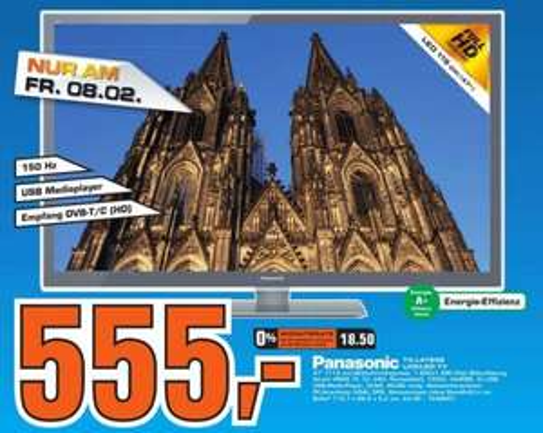 "[lokal? Köln - Saturn] Panasonic TX-L47E5E, A+ (Full-HD, 100 Hz, DVB-T/C) 47"" - ab 08.02.2013"