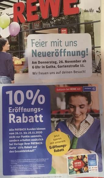 (Lokal: REWE in GOTHA, Thüringen) 26.11.-28.11.2020 zusätzlich 10% Eröffnungsangebot auf den Gesamteinkauf