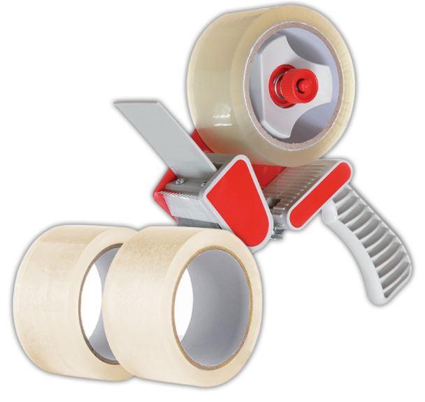 Paketband-Abroller inklusiv 3 Rollen Paketband oder den 5er Pack Paketband in braun, transparent, farbig für jeweils 4,86 Euro [ Norma ]
