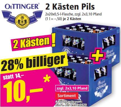 2 Kästen Oettinger Pils für 10 Euro (5 Euro/Kasten), 2 Kästen Hasseröder Pils für 14,60 Euro (7,30 Euro/Kasten) [Norma-regional]