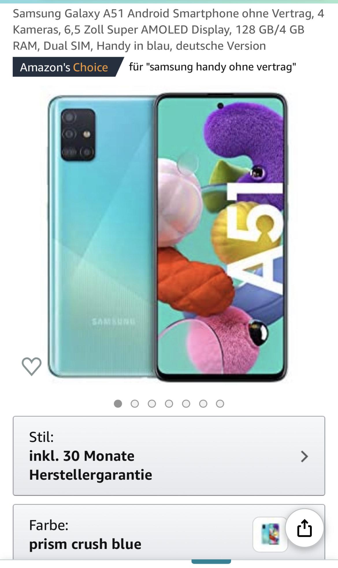 Samsung Galaxy A51 Android Smartphone mit 30 Monaten Garantie
