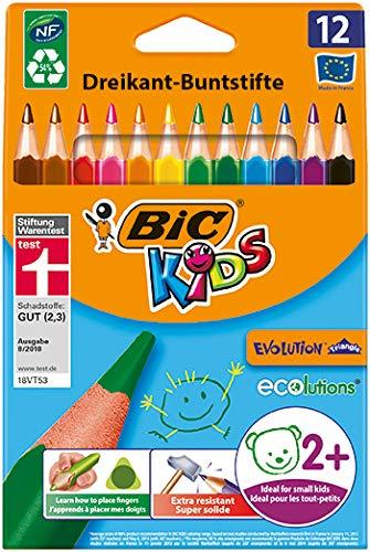 [amazon Prime] Bic Kids ECOlutions Evolution, 12 Kinder-Buntstifte, Ergonomische Dreikant-Malstifte ab 2 Jahre