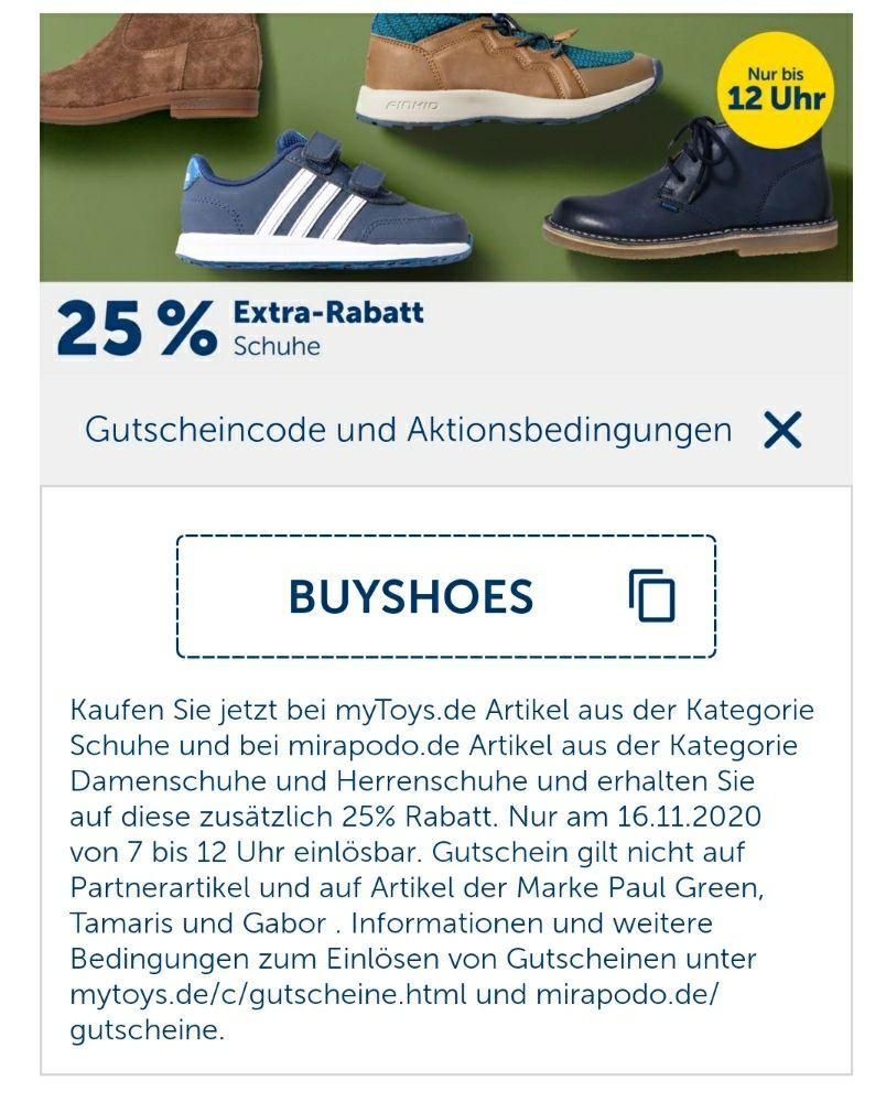 25% auf Schuhe bei Mirapodo