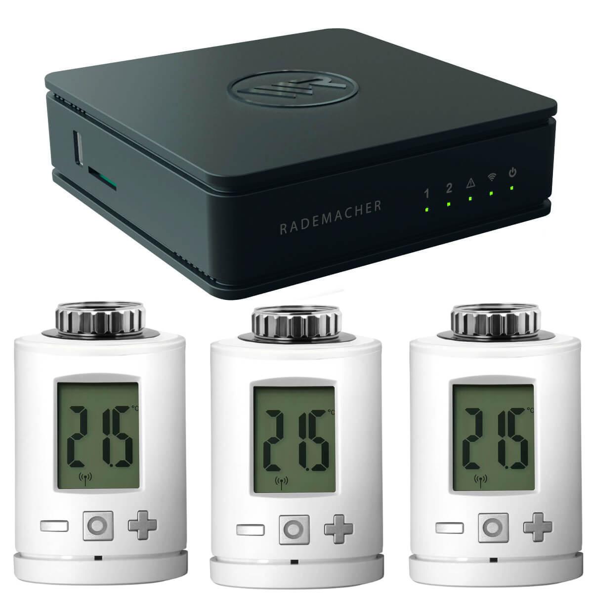Rademacher HomePilot 2 Zentrale Smart Home DuoFern + 3x DuoFern Funk-Heizkörperthermostat Stellantrieb