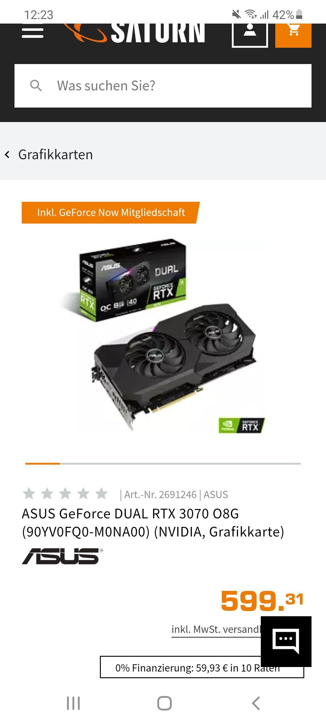 Asus Dual 8GB OC Rtx 3070