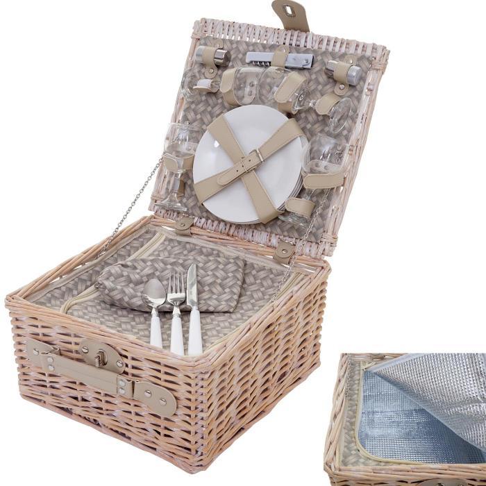 Picknickkorb-Set für 4 Personen aus Weideholz mit Kühlfach, Porzellan, Glas, Edelstahl