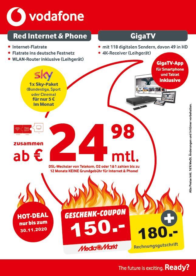 LOKAL Hamburg MM [Festnetz Vodafone Cable] Cable 250 [1000/50Mbit] mit 100€ Vodafone Gutschrift und 150€ Media Markt Coupon