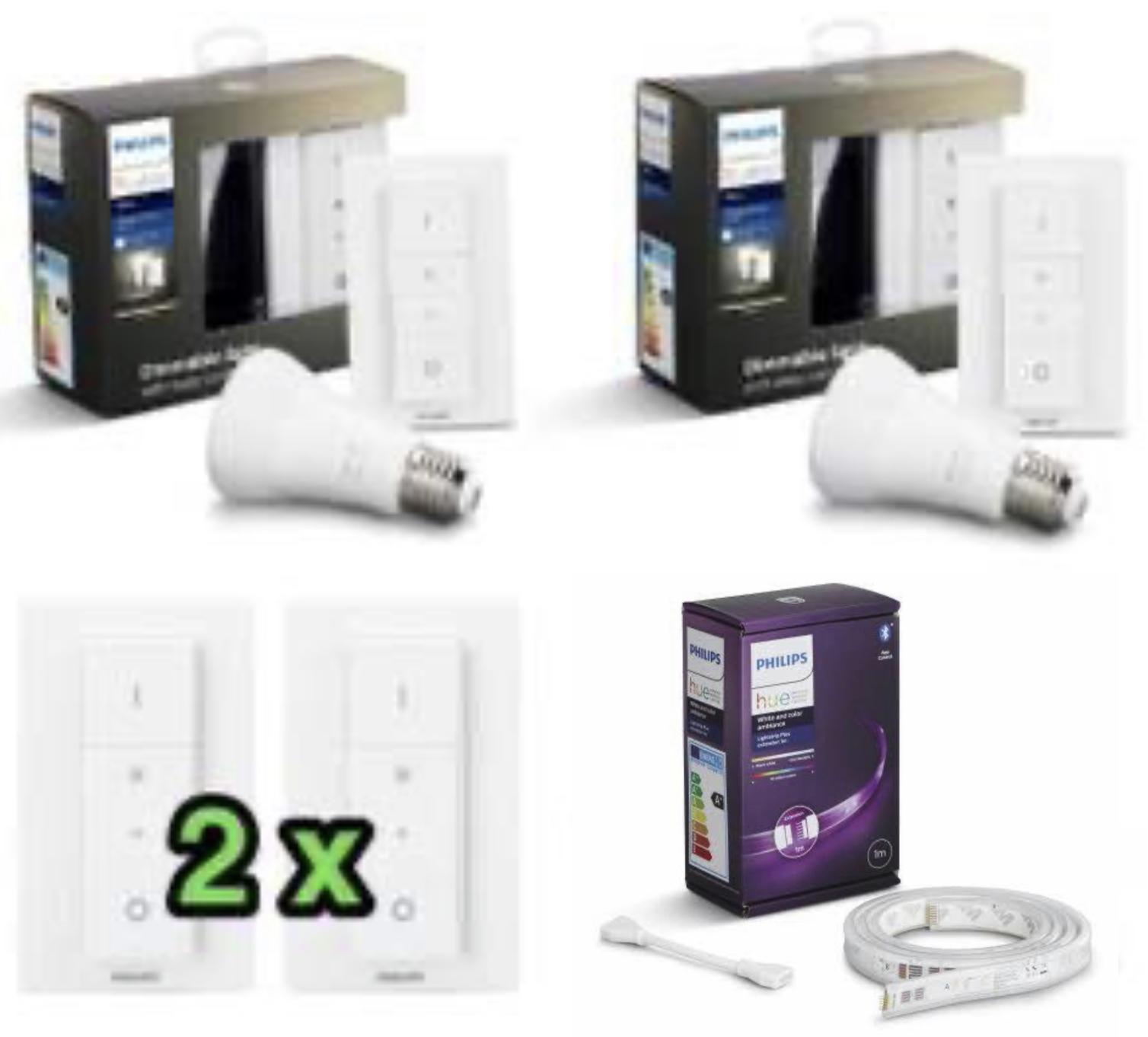 2 Stück Hue Dimmschalter für 24,90€ (je Stück 12,45€) / 2 x Philips Hue Dimming Kit für 31,43€ / 2 x 1m Lightstrip Erweiterung für 31,43€
