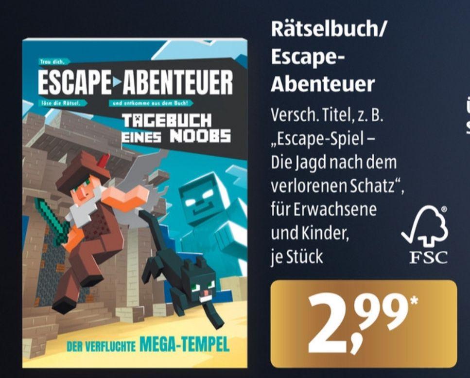 Rätselbuch/Escape-Abenteuer verschiedene Titel z.B.Escape Book - Tagebuch eines Noobs Der verfluchte Mega-Tempel, Aldi Süd ab 30.11.20