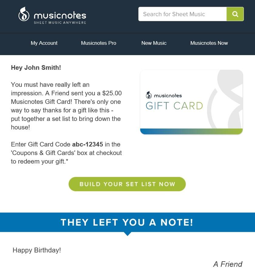 Musicnotes Guthaben mit 25 Prozent Rabatt Noten Klaviernoten