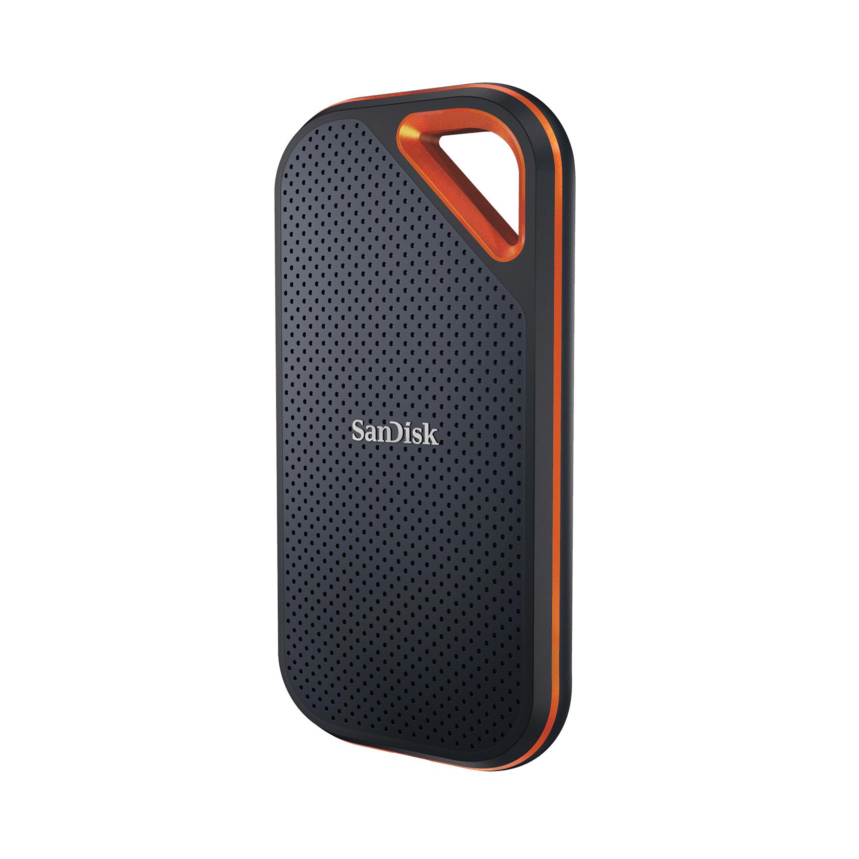 SanDisk Extreme PRO Portable SSD V2 2TB   externe NVMe-SSD mit 2000 MB/s Schreibgeschwindigkeit, USB 3.2 Gen 2x2, IP55, Fallsicherheit 2m