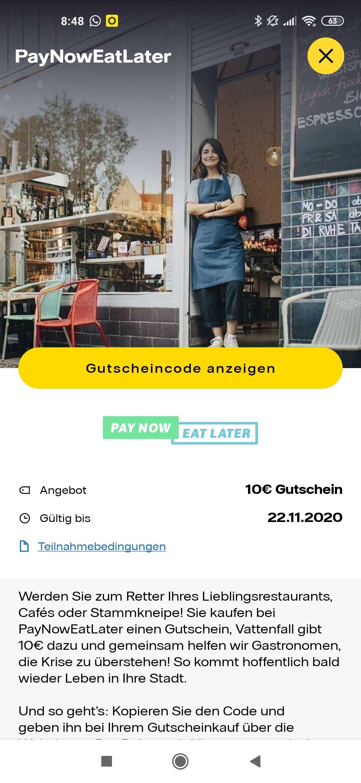 10 € Pay Now Eat Later Gutschein (Vattenfall My Highlight App)