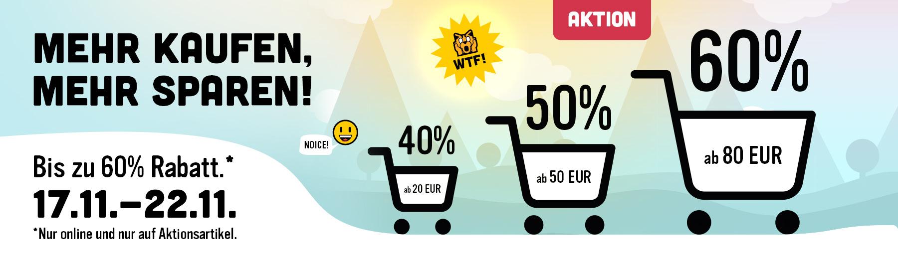 [Elbenwald] 40% ab 20€, 50% ab 50€, 60% ab 80€ Einkaufswert auf ausgewähltes Sortiment