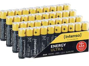 Intenso Energy Ultra AA Mignon LR6 40x oder Intenso Energy Ultra AAA Micro LR03 Alkaline Batterien, AAA Micro 40er Pack