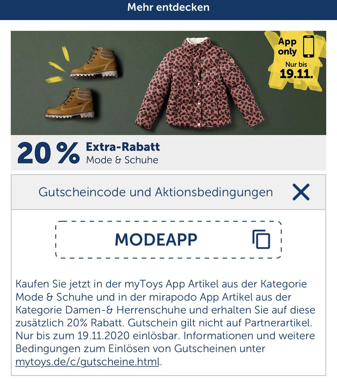 20% auf Schuhe und Mode in der MyToys / Mirapodo App - auch auf Sale