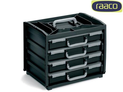 """Raaco Aufbewahrungsbox """"412004"""" (37.5 x 31 x 26.5 cm, 4 Sortimentskästen, 56 herausnehmbare Einsätze) [iBOOD]"""