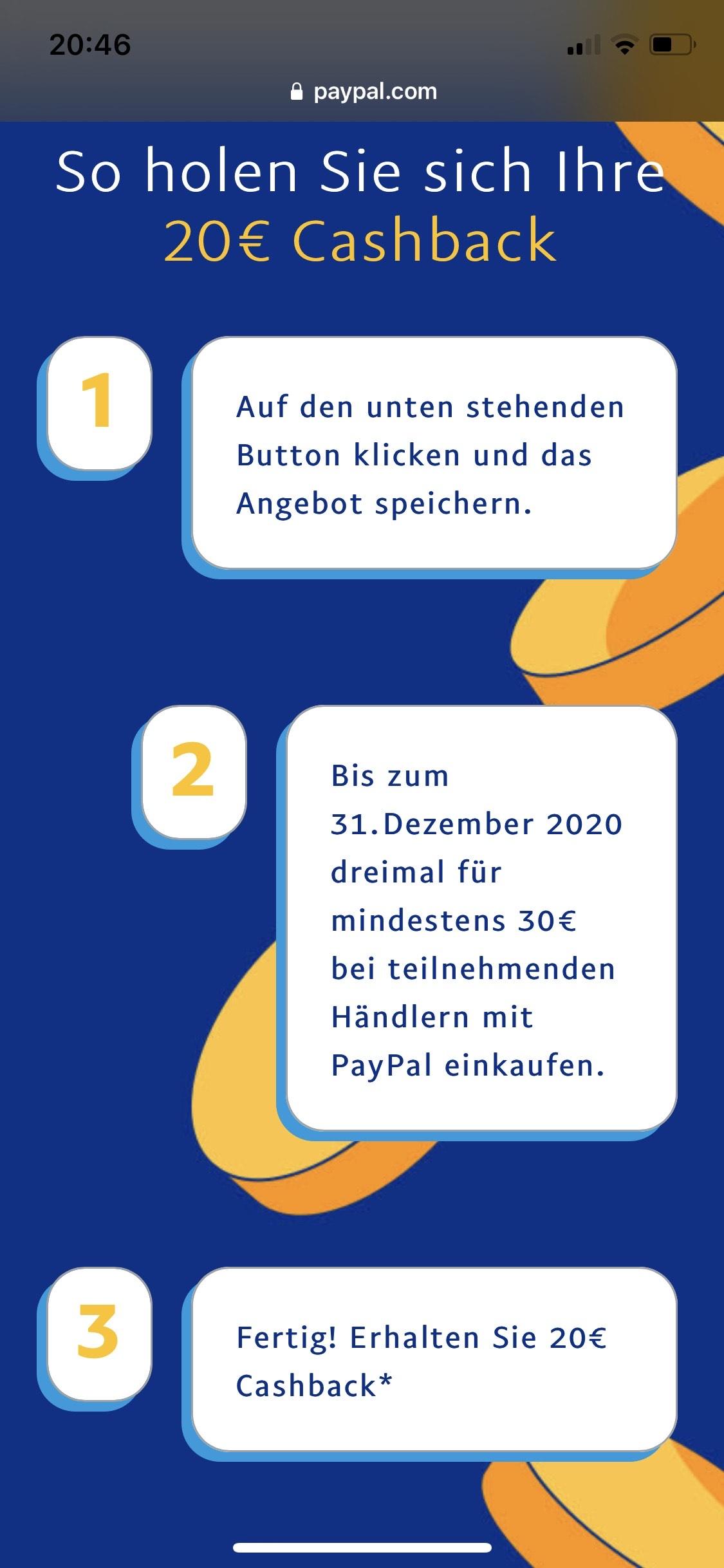 20 Euro PayPal Cashback für 3 Einkäufe a 30 Euro - effektiv 70 Euro (ausgewählte Händler)
