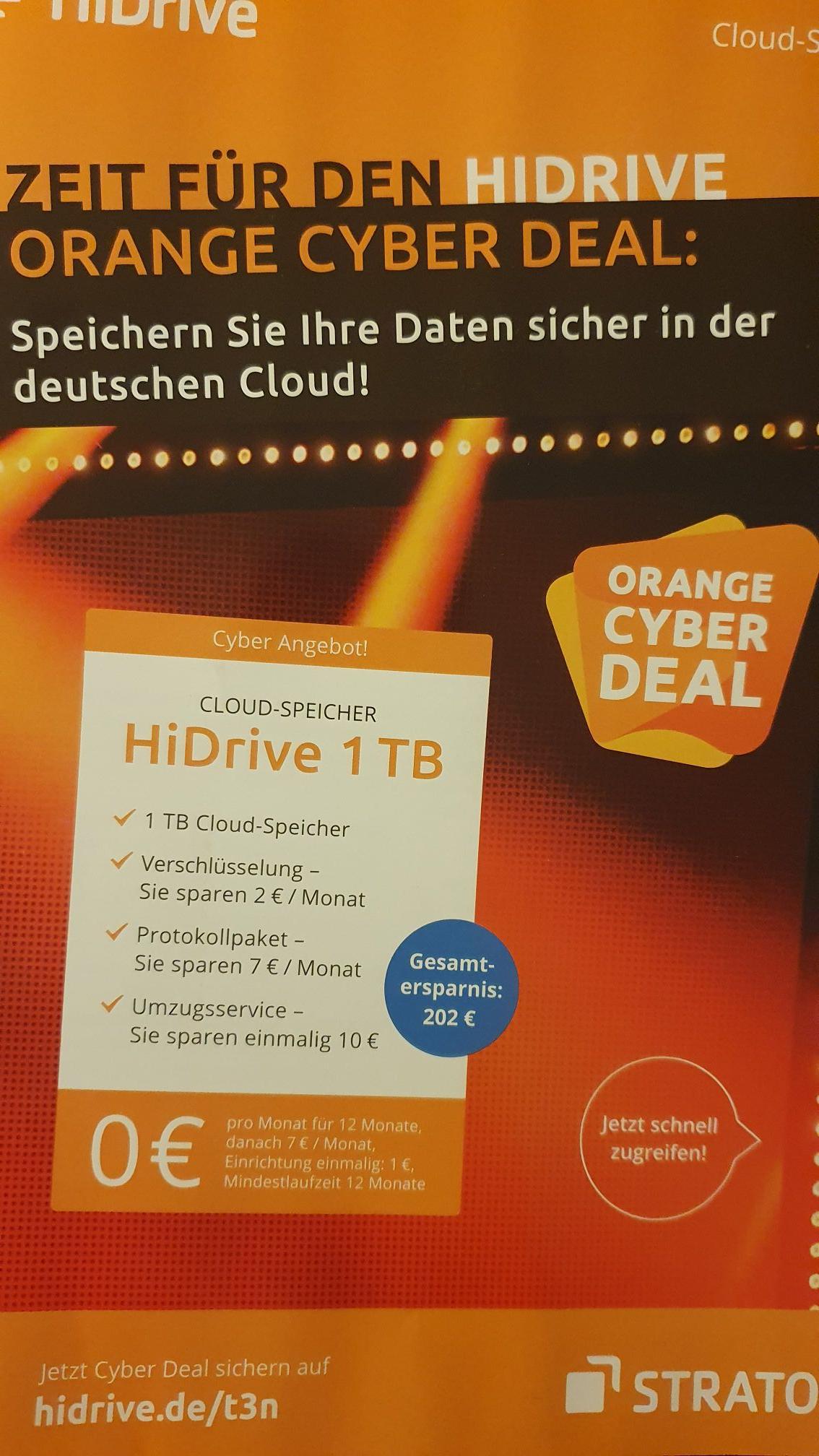 HiDrive Cloud-Speicher 1TB - 12 Monate 0 €