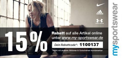 15 % auf alles bei www.my-sportswear.de (Nike, Adidas,...)