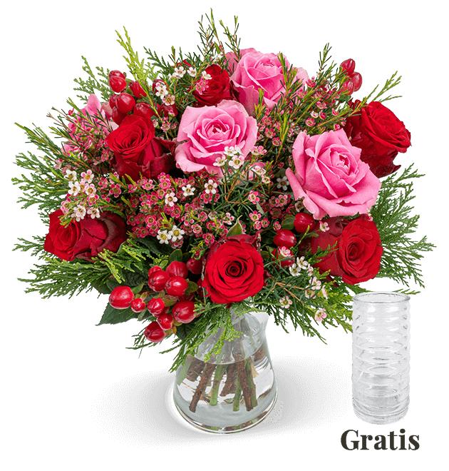 Rosengruß Winterzauber (7-Tage Frischegarantie) inklusive Vase für 19,99€ plus 4,99€ Versand, Liefertermin 20.11-22.12