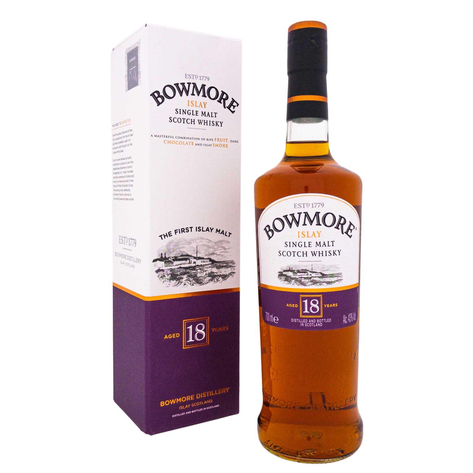 Hochwertiger Alkohol im Angebot - Bowmore 18 YO Islay Single Malt (Sammeldeal)
