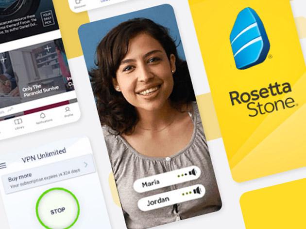 Rosetta Stone - Alle Sprachen (24) - Lebenszeit Lizenz + 12min Premium Micro Book Library + KeepSolid VPN Unlimited