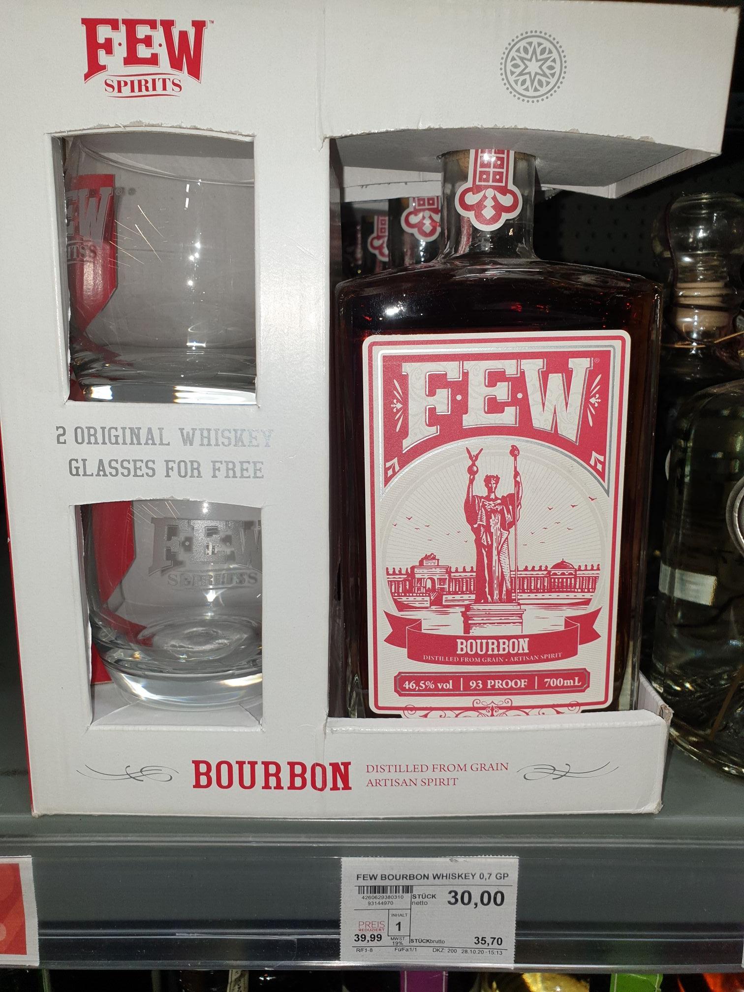 (LOKAL Selgros Berlin Lichtenberg) FEW Bourbon Whiskey inkl. 2 Gläsern