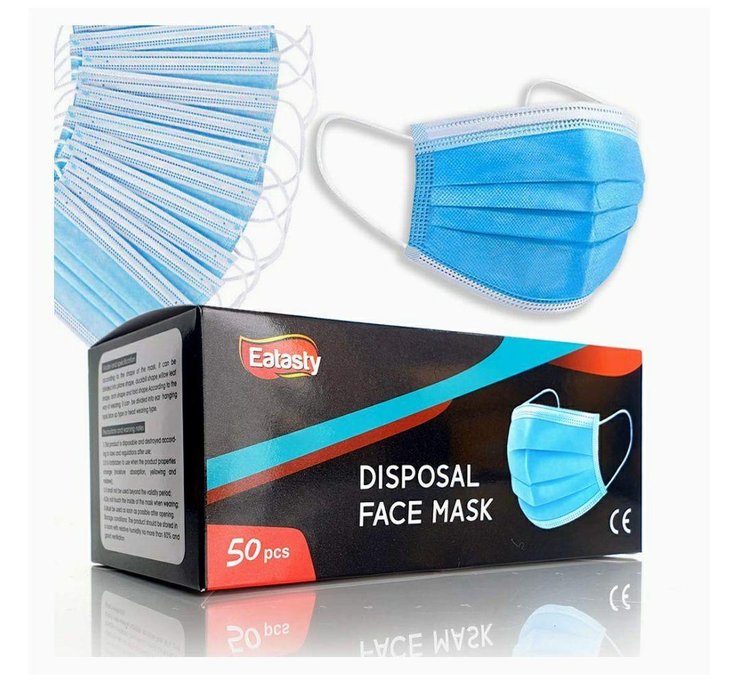 (Prime) Mundschutz 50er Pack mit CE-Zertifizierung , Atmungsaktiv, Anti Beschlag