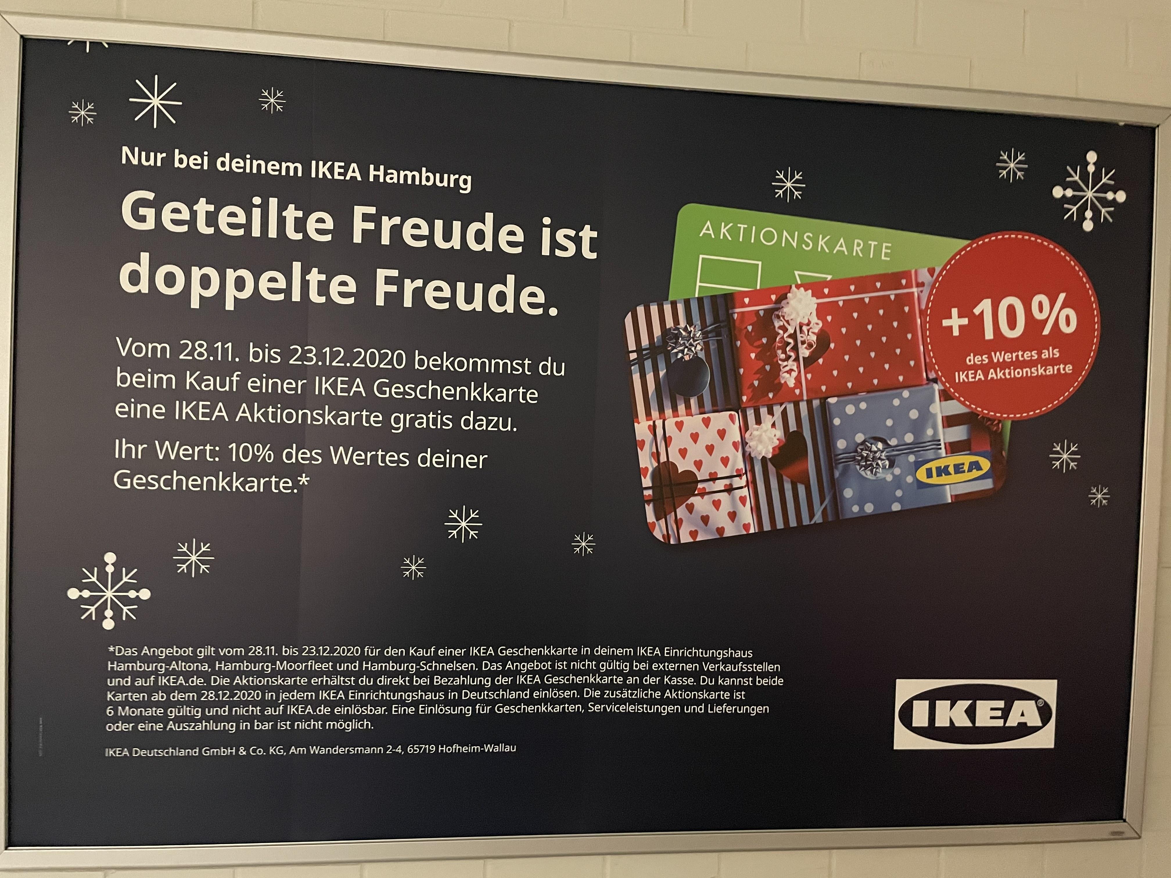 [lokal] IKEA Hamburg gibt 10 % Extra-Guthaben auf Geschenkkarten