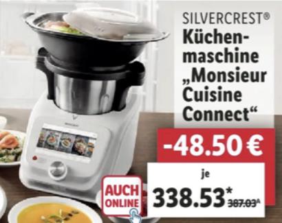 Lidl: SILVERCREST Küchenmaschine Monsieur Cuisine Connect SKMC 1200 für 338,53€ - ab 30.11. / Mini Version für die Kids für 29,09€ ab 04.12.