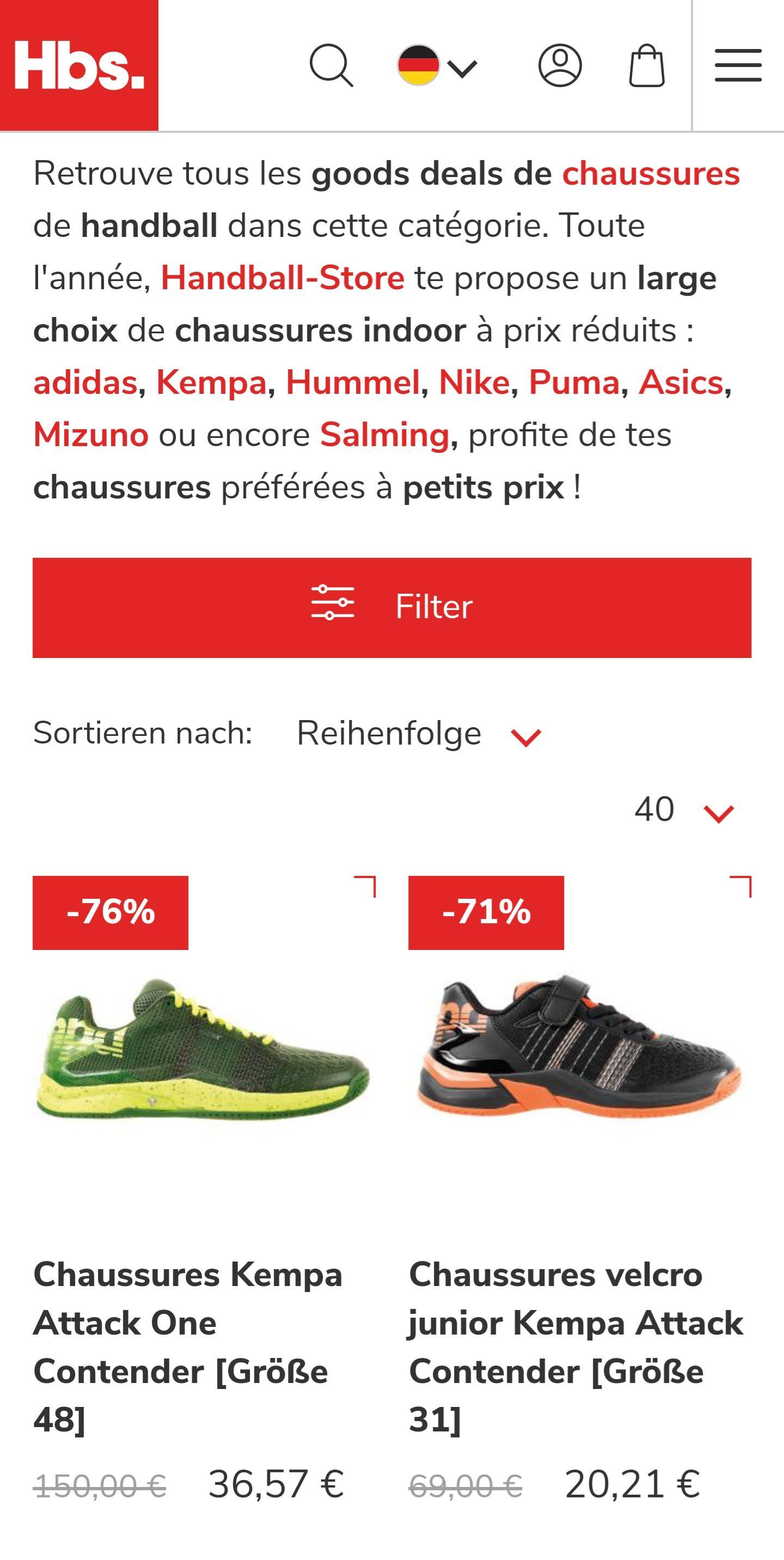 [Handball-Store.com] Top Indoorschuhe bis zu 76% günstiger!! +10% ontop