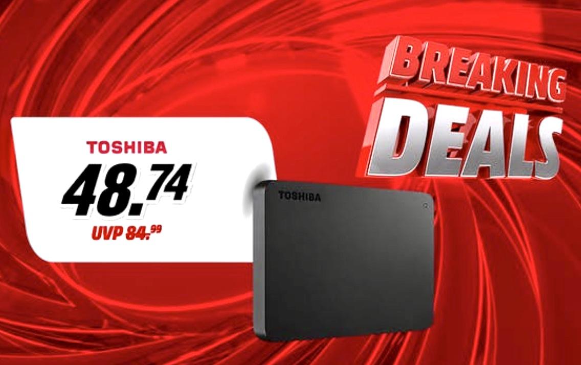 Über ebay für 46,30€ möglich! - TOSHIBA Canvio Basics Exclusive 2TB HDD 2,5 Zoll extern für 48,74€ inkl. Versandkosten