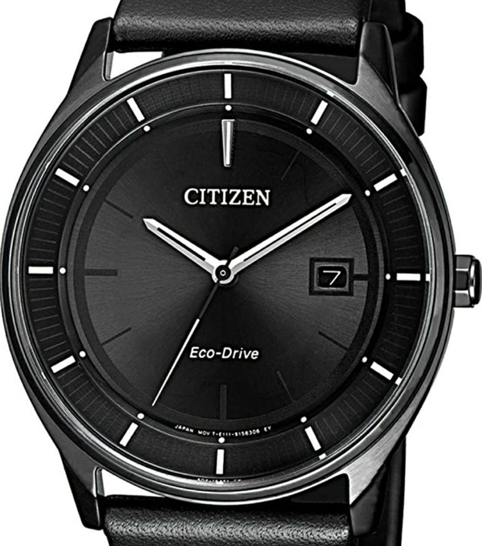 CITIZEN Eco-Drive Herren Armbanduhr BM7405-19E Analog Schwarz Leder