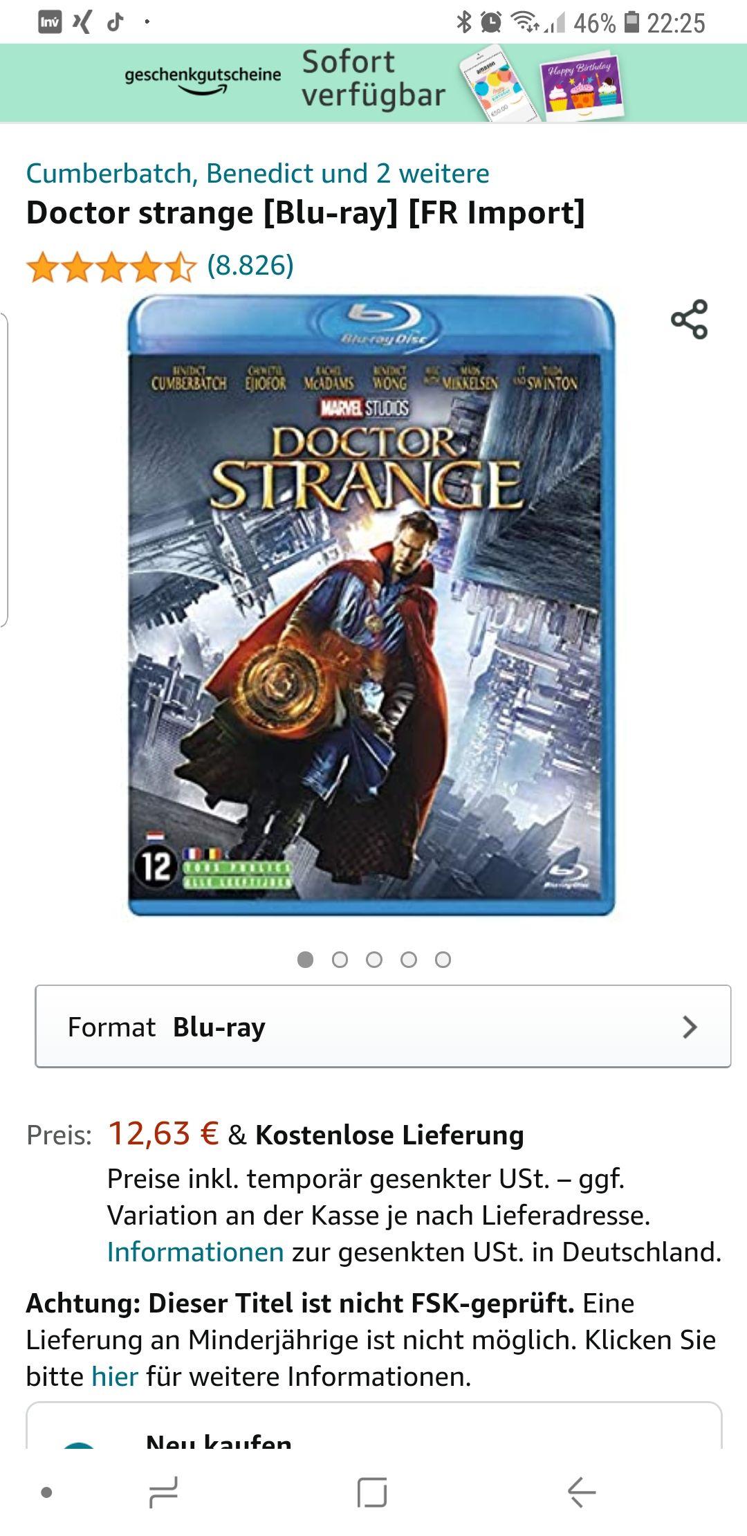 Bluray Hülle für 0,62 Euro inkl. Dr. Strange auf französisch