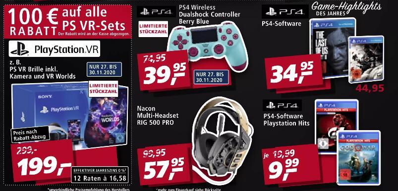 [real 27.11. - 30.11.] Sony DualShock 4 V2 berry blue Controller - 39,95€   100€ Rabatt auf alle Sony VR-Sets   TLOU II PS4 - 34,95€