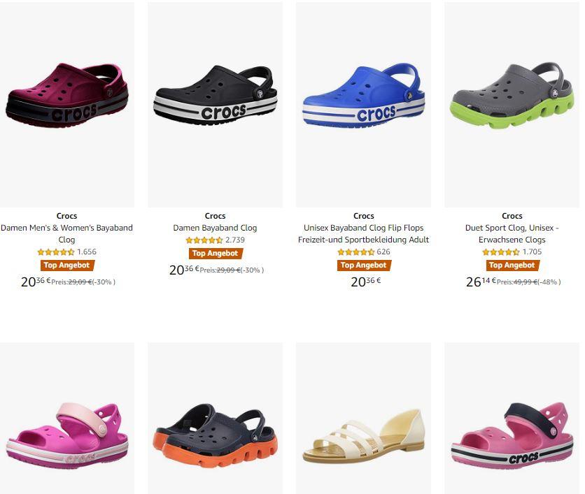 viele Damen, Herren und Kinder Crocs im Sale bei Amazon, diverse Modelle