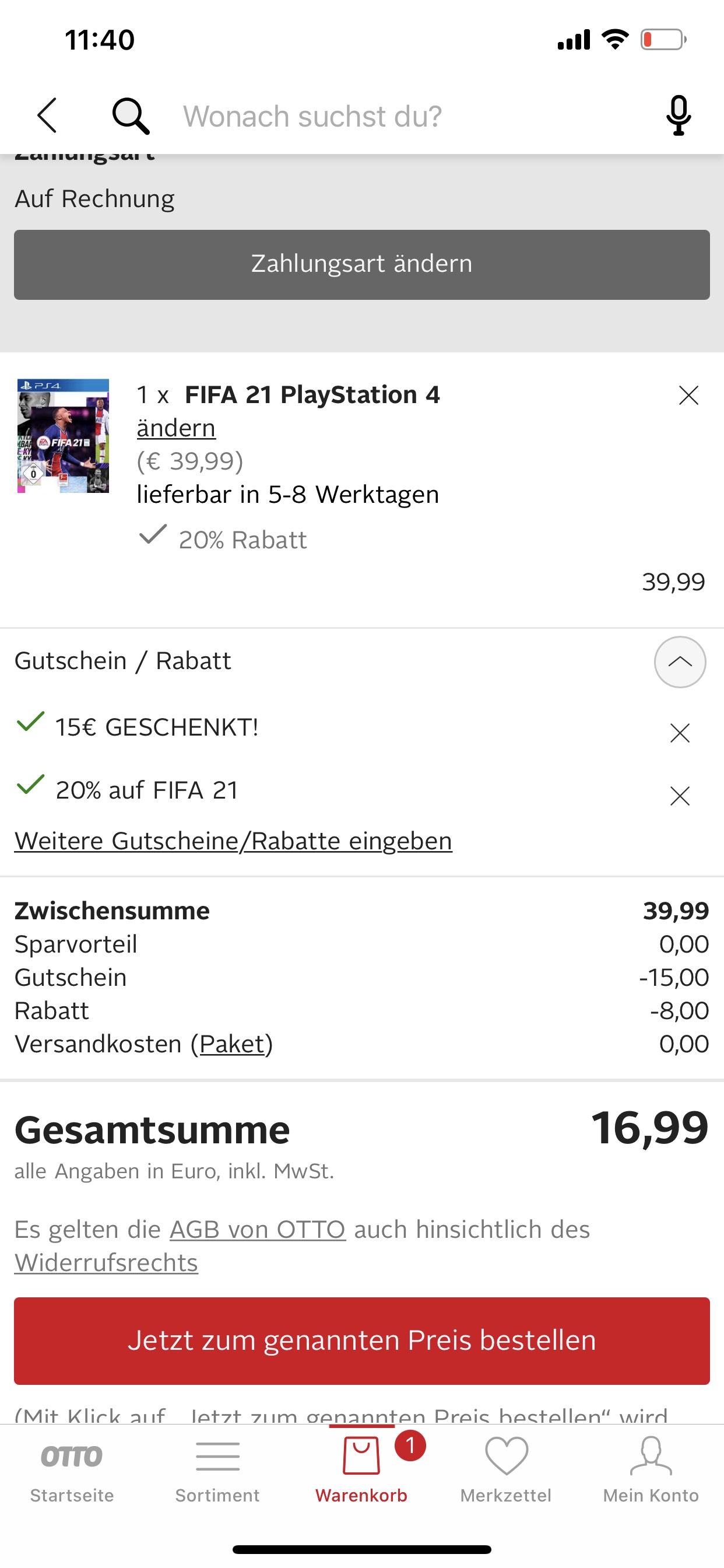 FIFA 21 für 16,99€ mit Neukunden Konto