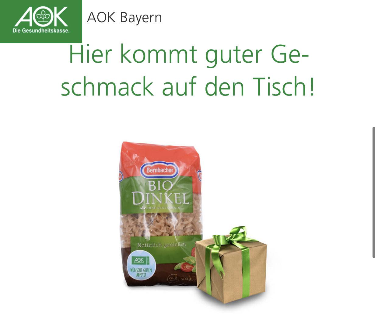 Lokal: Bayern: AOK - Gratis Bio Dinkel Nudeln oder gesunde Überraschung