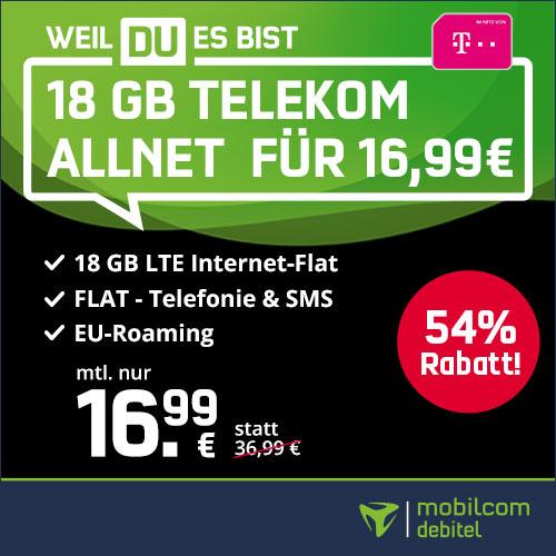 [Telekom-Netz] 18GB green LTE Tarif für mtl. 16,99€ von mobilcom-debitel (Allnet- & SMS-Flat, VoLTE, WLAN Call)