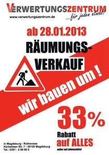 [lokal Magdeburg] Räumungsverkauf im Verwertungszentrum: 33% Rabatt