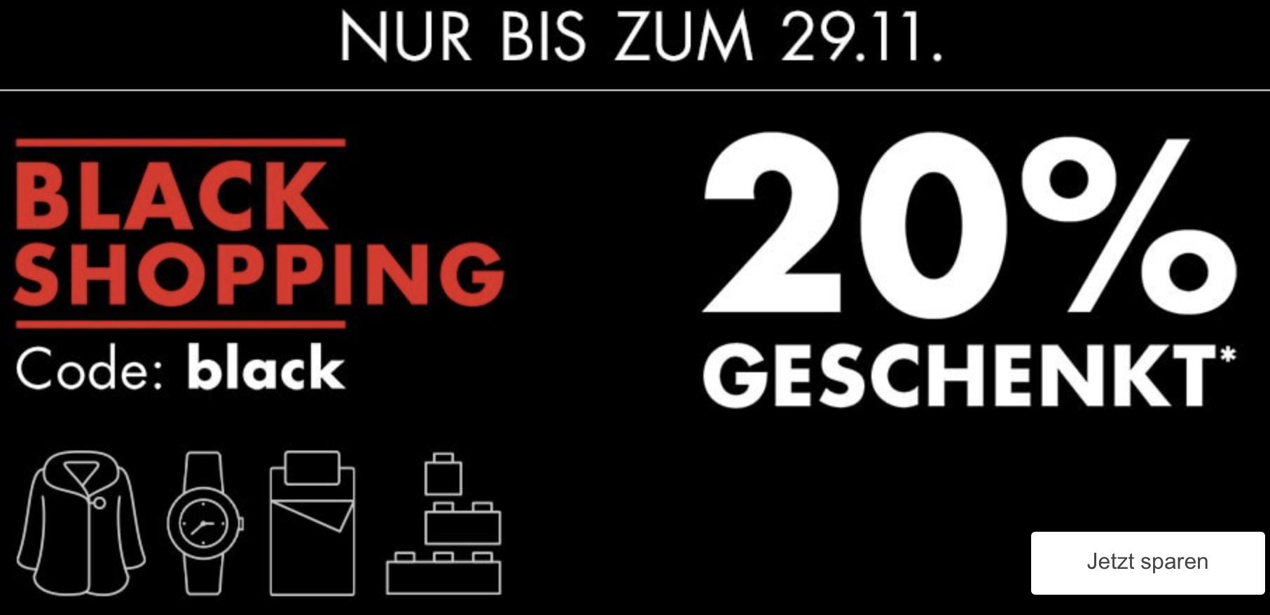 Galeria: Black Shopping Week: 20% Rabatt auf Kleidung, Wohnen, Spielwaren (auch Lego), Sport, Koffer, Beauty, Uhren, Schmuck usw. usw.