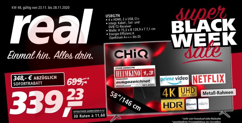 (Lokal Real) CHiQ U58G7N 58″ 147cm Ultra HD SMART TV