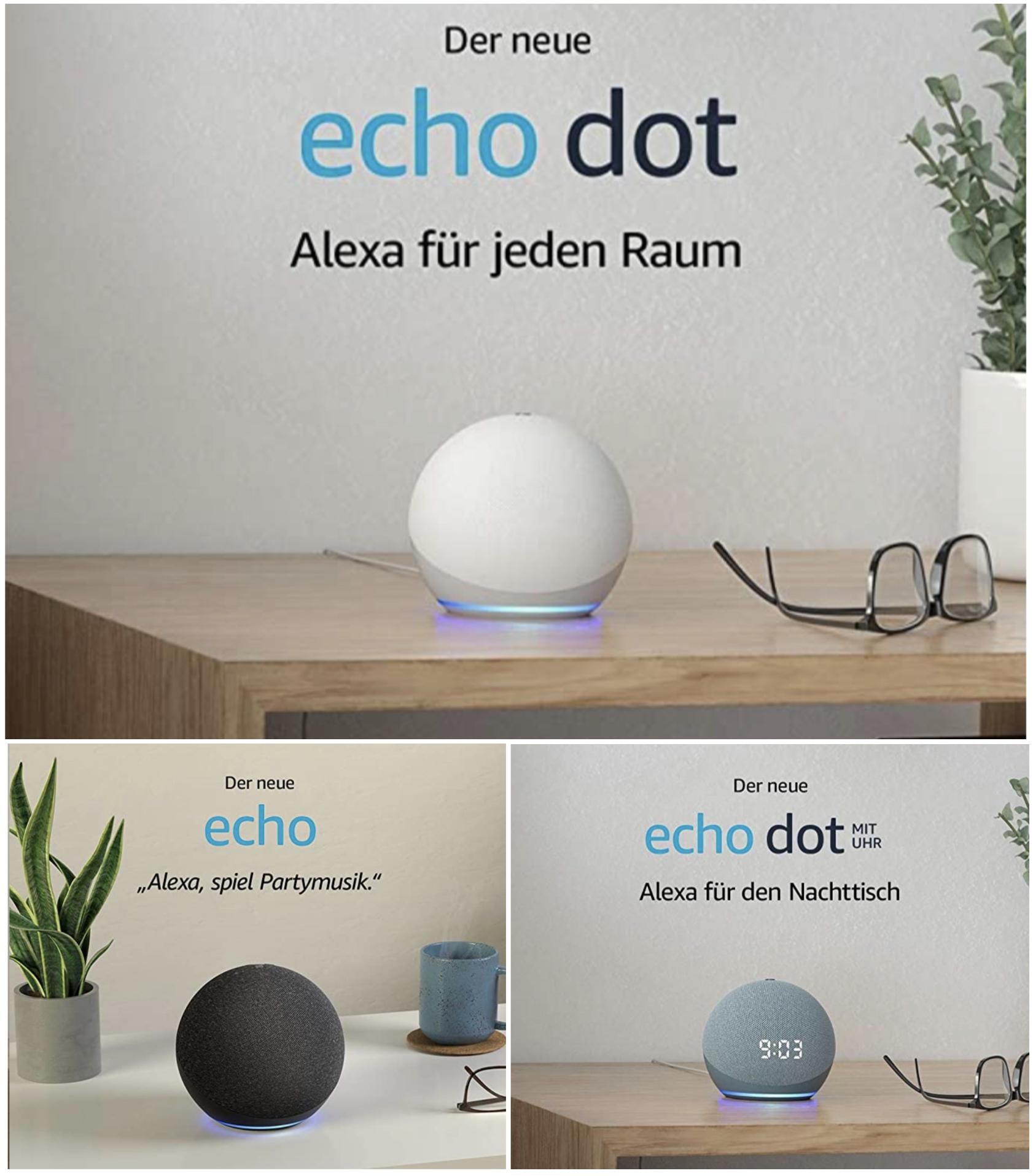 Echo Dot 4. Generation für 29,24€ / mit Uhr für 38,98€ / Echo 4. Generation für 68,23€ (auch inkl. Hue Lampe)
