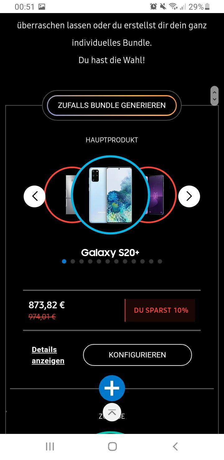 "Samsung Galaxy S20+ inkl. Samsung 50"" Crystal UHD 4k TU8079"