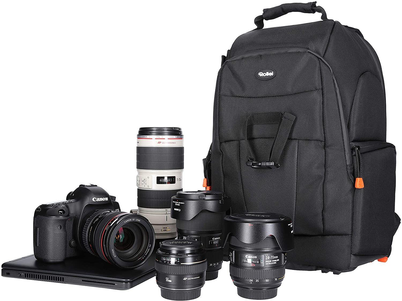 Sammeldeal Rollei Fotoliner Fotorucksack M I großer Kamerarucksack I Daypack I inkl. Laptop-Fach, Regenschutz und Handgepäck