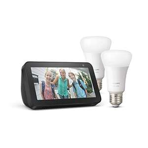 Echo Show 5 + Philips Hue White LED-Lampe Doppelpack (E27) für 53,86 € (Amazon)