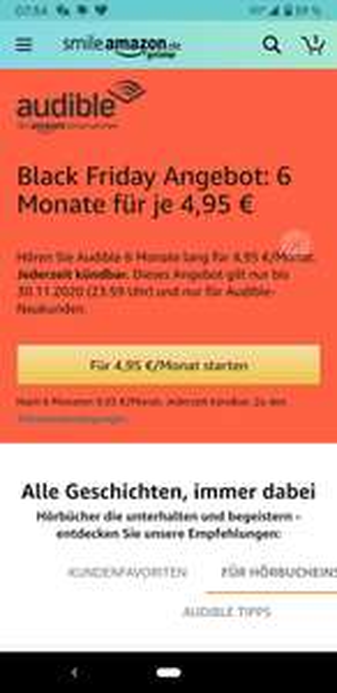 Audible Neukunden: 4,95€/Monat für halbes Jahr [Amazon] [Black Friday]