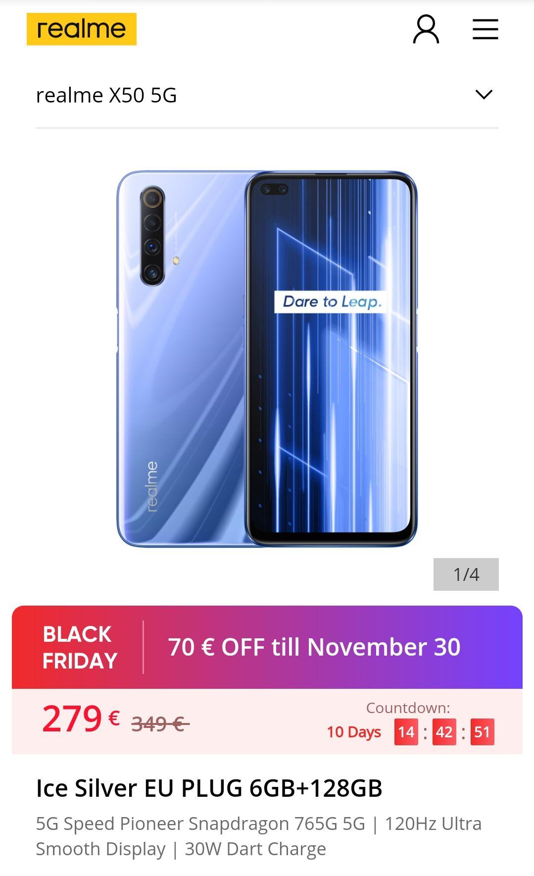 Realme X50 5G direkt bei Realme und weitere Handys