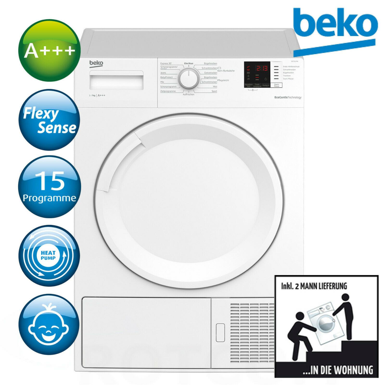 [ebay] Beko Trockner A+++ Wärmepumpentrockner Wäschetrockner DS7512PA 7kg zu 369,90€